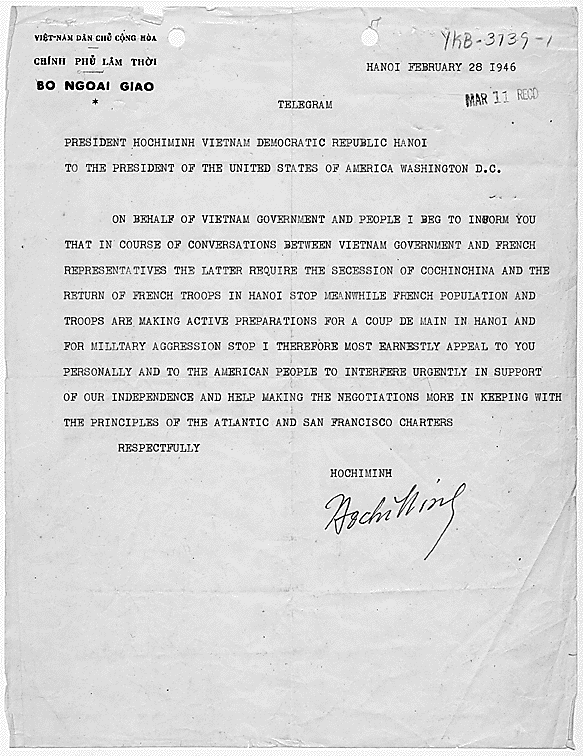 February 28, 1946 telegram from Ho Chi Minh to U.S. President Harry S. Truman requesting support for independence. (Wikimedia Commons)
