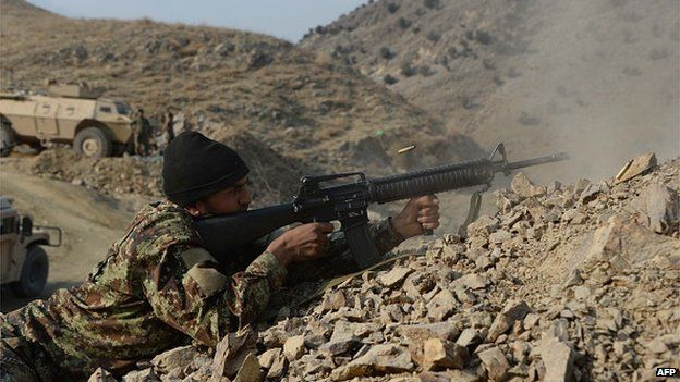 An Afghan soldier during an anti-Taliban operation in eastern Kunar provice. (AFP/BBC)