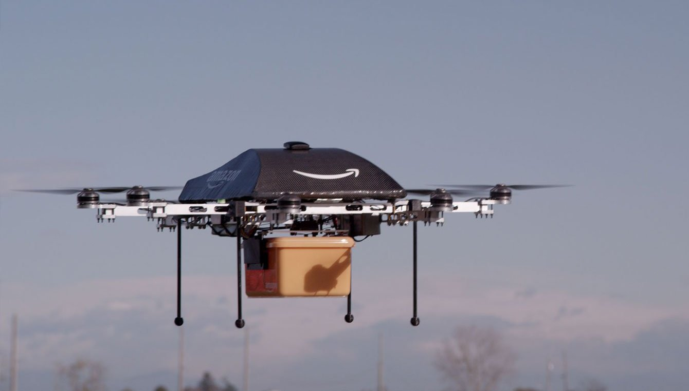 """Amazon made their first fully autonomous, no human pilot, """"Prime"""" air delivery on December 7, 2016 ( Amazon )"""