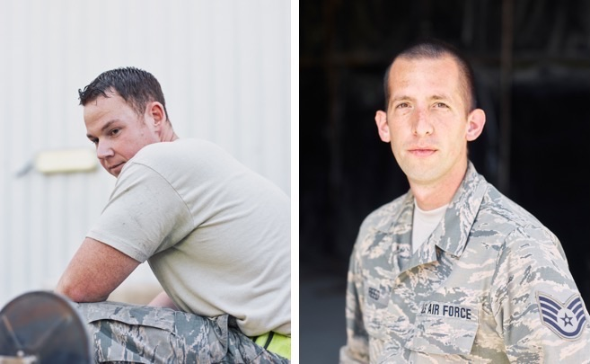 Portraits of airmen: left, a USAF maintainer in Southwest Asia; right, a USAF Staff Sergeant in Southwest Asia. ( Jason Koxvold )