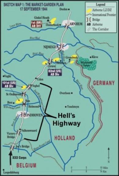 Figure 2: Sketch map of the Operation Market Garden plan, 17 September 1944 [6]