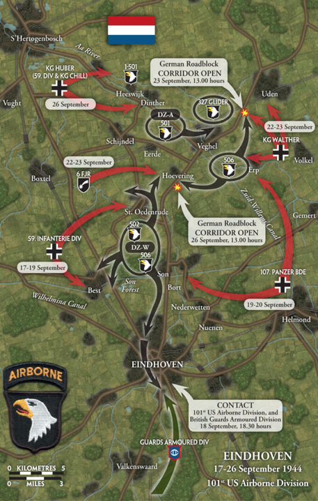 Figure 3: Map showing the sustained combat 101st Airborne undertook along Hell's Highway during Operation Market Garden [17]