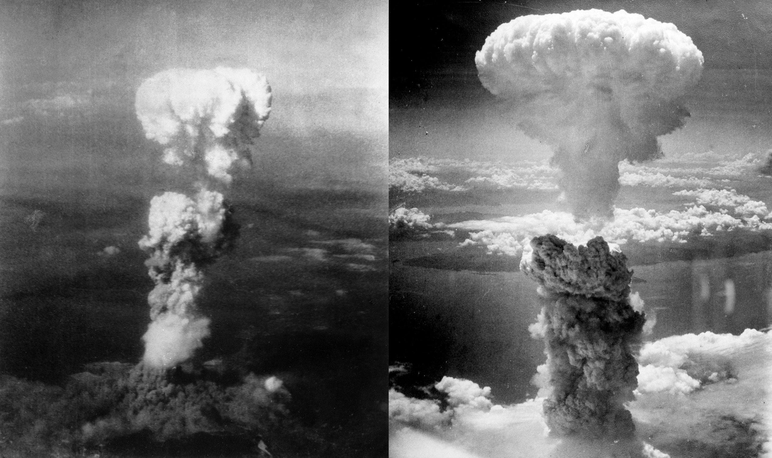 Left: Atomic bombing on Hiroshima on August 6, 1945. Right:Atomic bombing of Nagasaki on August 9, 1945. (Wikimedia)