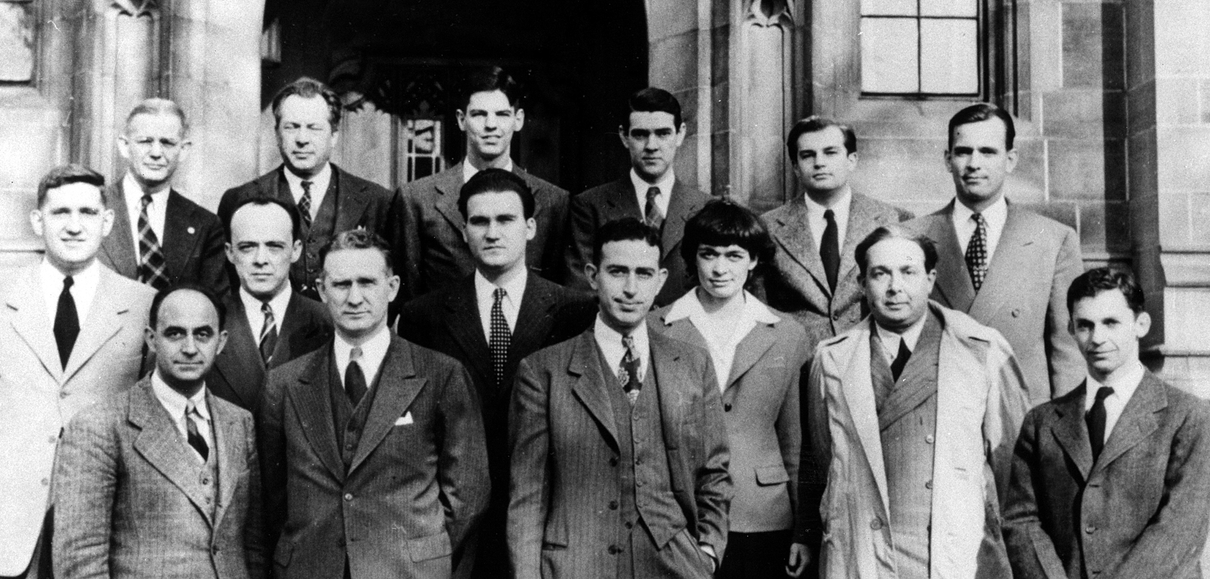 Alumni of the creation of the first nuclear reactor, CP-1, at the University of Chicago's Metallurgical Laboratory. (Emilio Segrè Visual Archive)