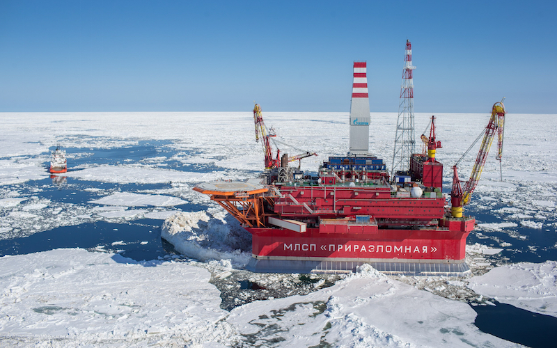 The Prirazlomnoye platform is located on the Pechora Sea shelf 60 kilometerss offshore (at the Prirazlomnoye oilfield) and is designed to operate in extreme weather conditions. (Gazprom)