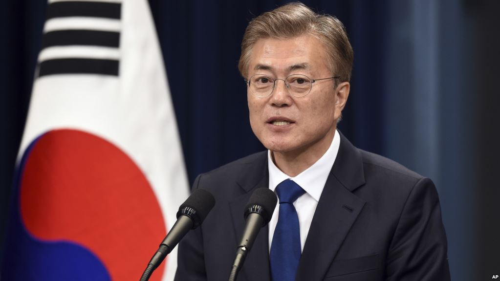 South Korea's new President Moon Jae-In speaks during a press conference at the presidential Blue House in Seoul Wednesday, May 10, 2017. Moon has said he would do everything he could to reduce tensions on the Korean Peninsula. (AP)
