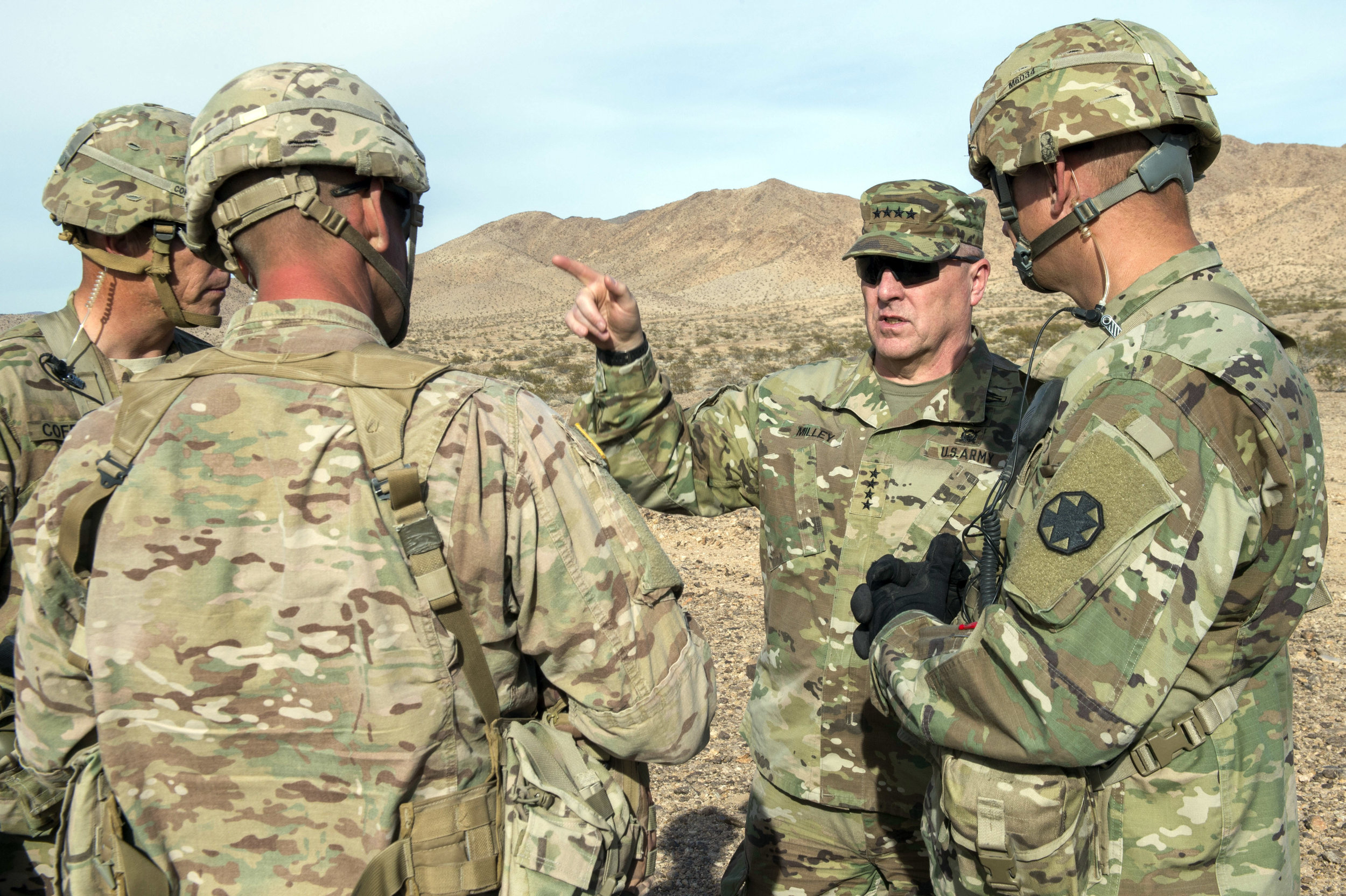 U.S. Army Chief of Staff, Gen. Mark A. Milley, talks with Observer Controllers at the U.S. Army National Training Center, Ft. Irwin, Calif., November 6, 2016.(U.S. Army Photo/SFC Chuck Burden)