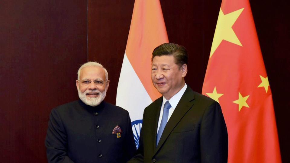 Prime Minister Narendra Modi and Chinese President Xi Jinping in Astana, Kazakhstan,July 2017. (PTN)