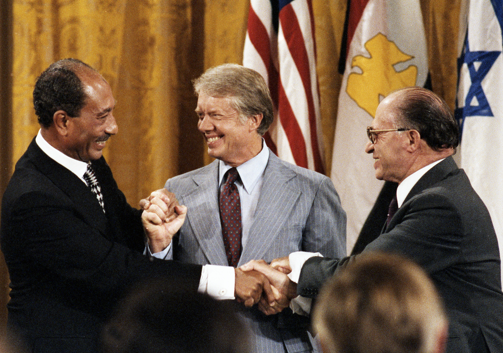 Sadat and Begin and their delegations at Camp David, September 17, 1978. (Jimmy Carter Library)