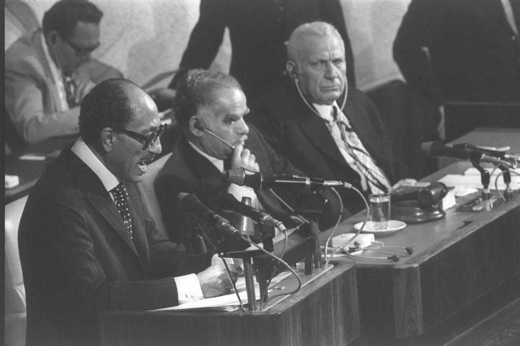 Egyptian president Anwar Sadat addresses the Knesset in Jerusalem, November 20, 1977 (Times of Israel)