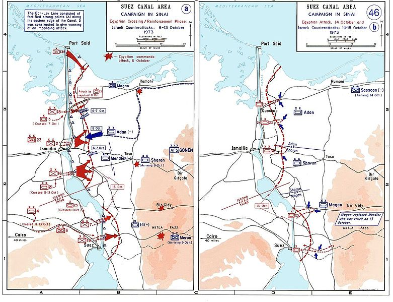 Egyptian Attacks and Israelin Counter Attack, 6 Oct - 16 Oct, 1973. (Department of History, USMA/Wikimedia