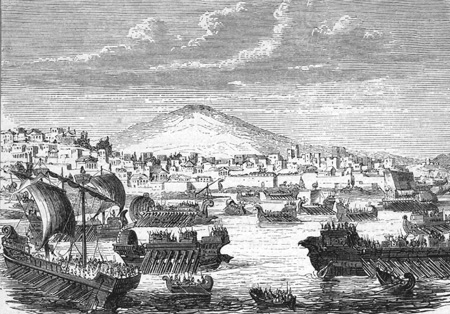 The Athenian fleet shown in a 19th century engraving (Wikimedia)