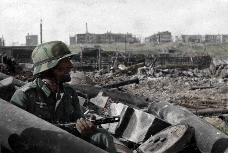 A German soldier in the rubble of a factory during the Battle for Stalingrad, October 1942 {German Federal Archives/Wikimedia)