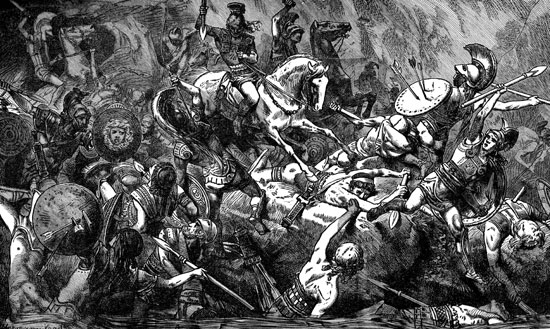 """""""Destruction of the Athenian Army in Sicily""""by Hermann Vogel, showing the final defeat of the Athenian at the river Assinarus. (Eon Images)"""