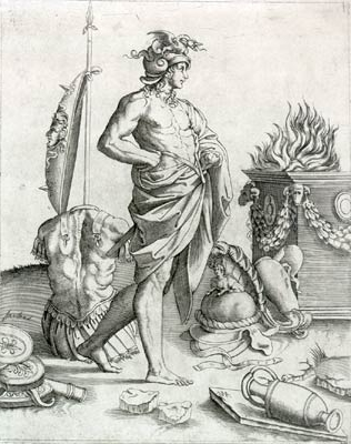 An engraving by Agostino Veneziano, reflecting a Renaissance view of Alcibiades. (Wikimedia)