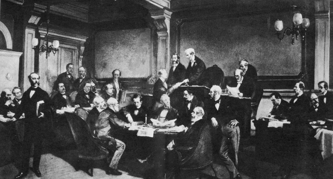 Some of the major European powers signing the First Geneva Convention in 1864,by by Charles Édouard Armand-Dumaresq (Wikimedia)