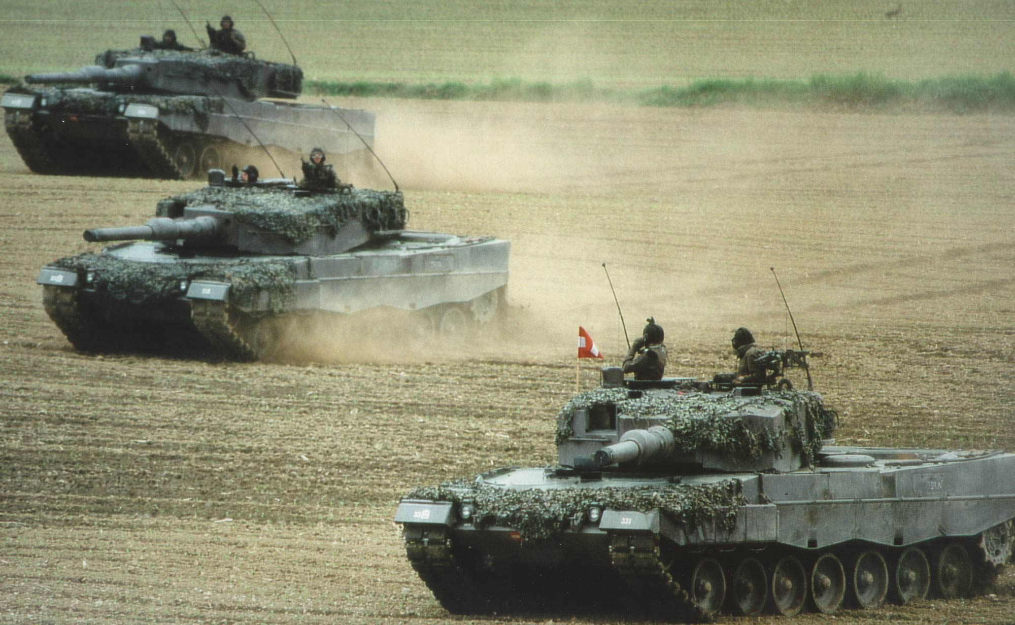German Leopard 2 tanks during a field exercise.