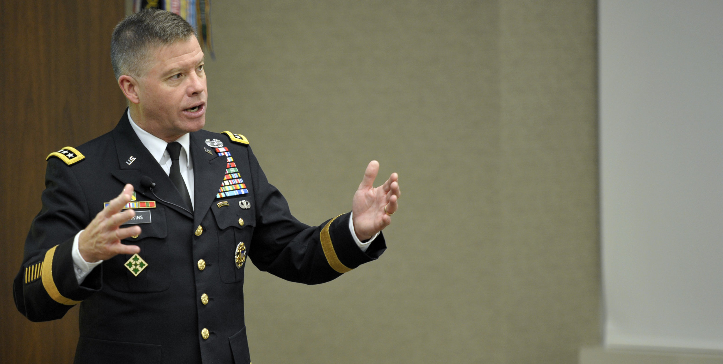 """Speaking at breakfast hosted by the Association of the U.S. Army's Institute of Land Warfare, Gen. David Perkins, U.S. Army Training and Doctrine Command commanding general, said senior commanders will have to learn to give orders """"broad enough so when and if you lose communication,"""" the commander on the battlefield will understand and follow command intent. (AUSA News)"""