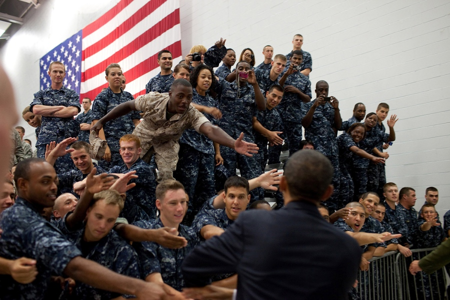 Then-President Barack Obama greets members of the audience following his remarks at an event with military personnel at the Pensacola Naval Air Station in Pensacola, Fla., June 15, 2010. (White House Photo)