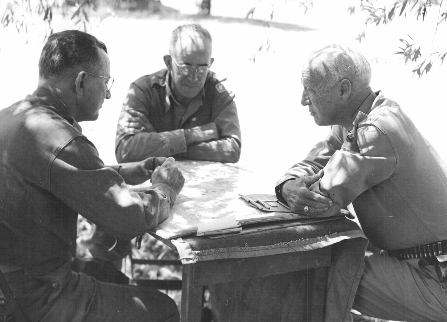 Omar Bradley and George Patton make plans for the final drive on Messina, Sicily.