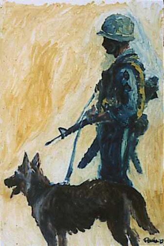 """""""Scout Dog"""" by Augustine G. Acuna (U.S. Army Combat Art Program/Wikimedia)"""