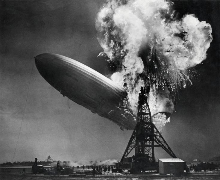 The Hindenburg on fire at the mooring mast of Lakehurst, New Jersey, 6 May 1937. (National Archives/Wikimedia)