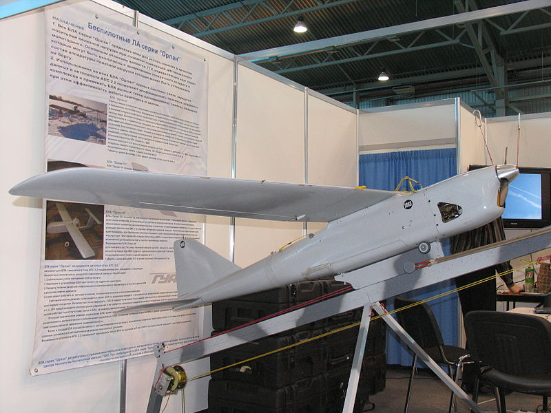 An Orlan-10 on exhibit at InterAeroCom 2010, Saint Petersburg, Russia. (Wikimedia)