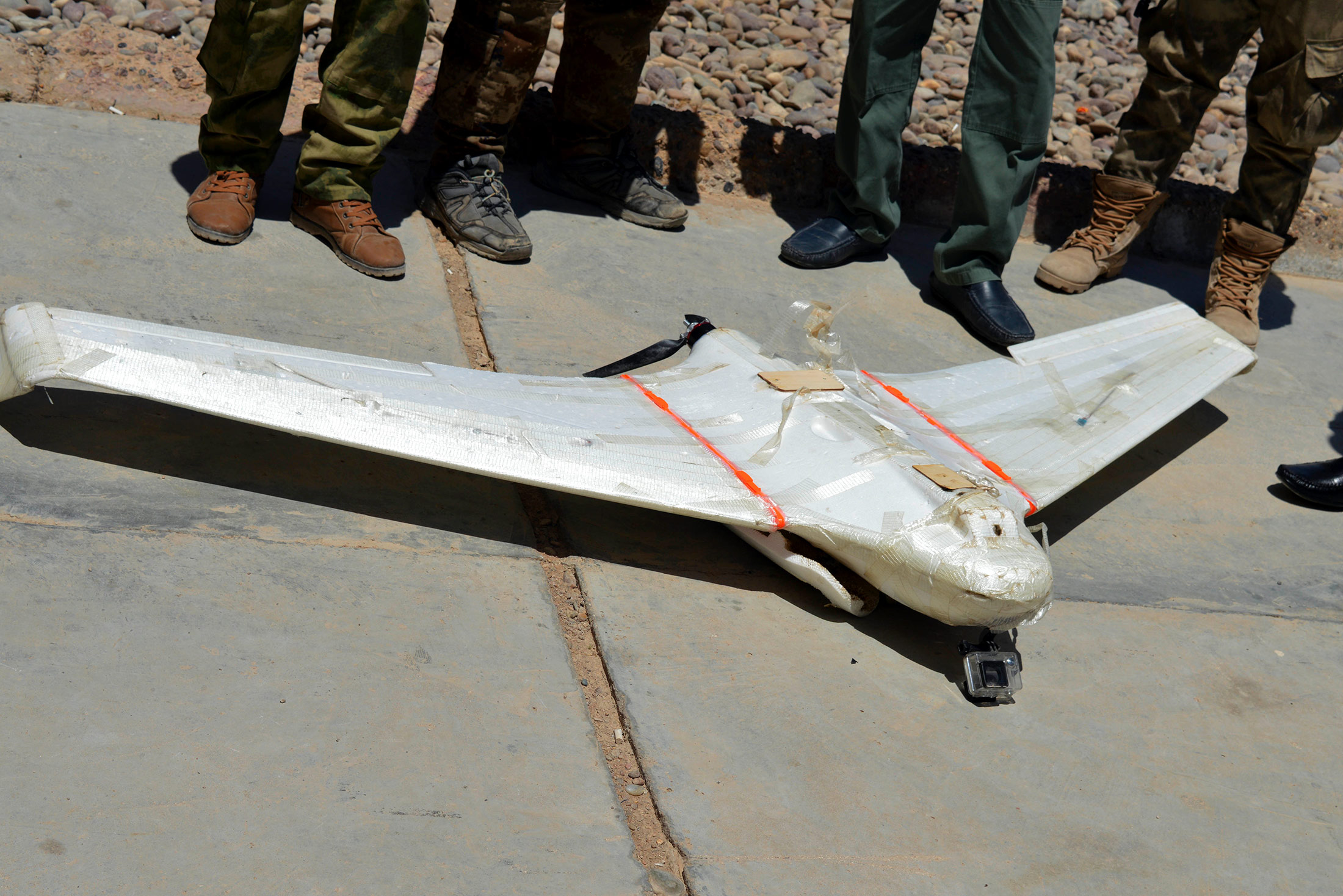 A drone belonging to Islamic State group which was shot down by Iraqi security forces outside Fallujah, Iraq, on May 26, 2016. (AP)