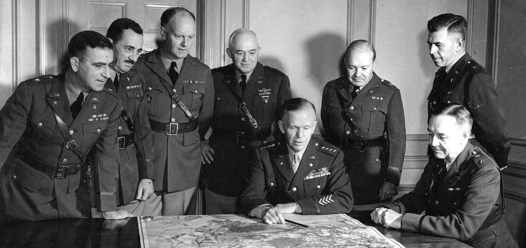 General George C. Marshall, seated at center, with members of his general staff, November 1941 | Getty Images