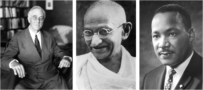 Franklin Delano Roosevelt,Mohandas K. Gandhi, and Martin Luther King, Jr. (Wikimedia)