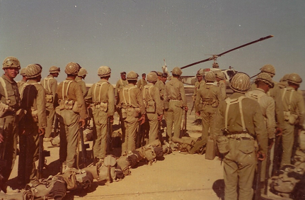 Iranian troops prepare to deploy on Operation Nader, Christmas 1974. Photograph provided courtesy of Lt Col Ian Buttenshaw, WKhM.