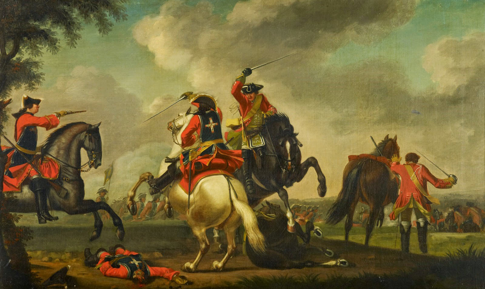 British and French Cavalry engaged at the Battle of Warburg, 1760.