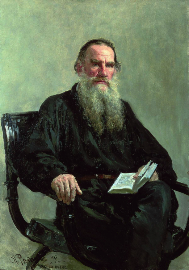An 1887 portrait of Tolstoy by Ilya Repin, one of the definitive images of Tolstoy