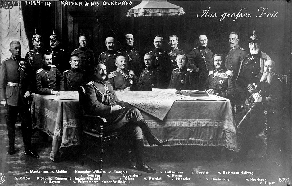 Kaiser Wilhelm II and his Generals Source (Library of Congress/Wikimedia)