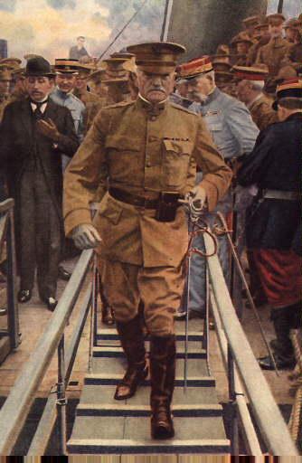 General John J. Pershing Lands in France, 1917 (Wikimedia)