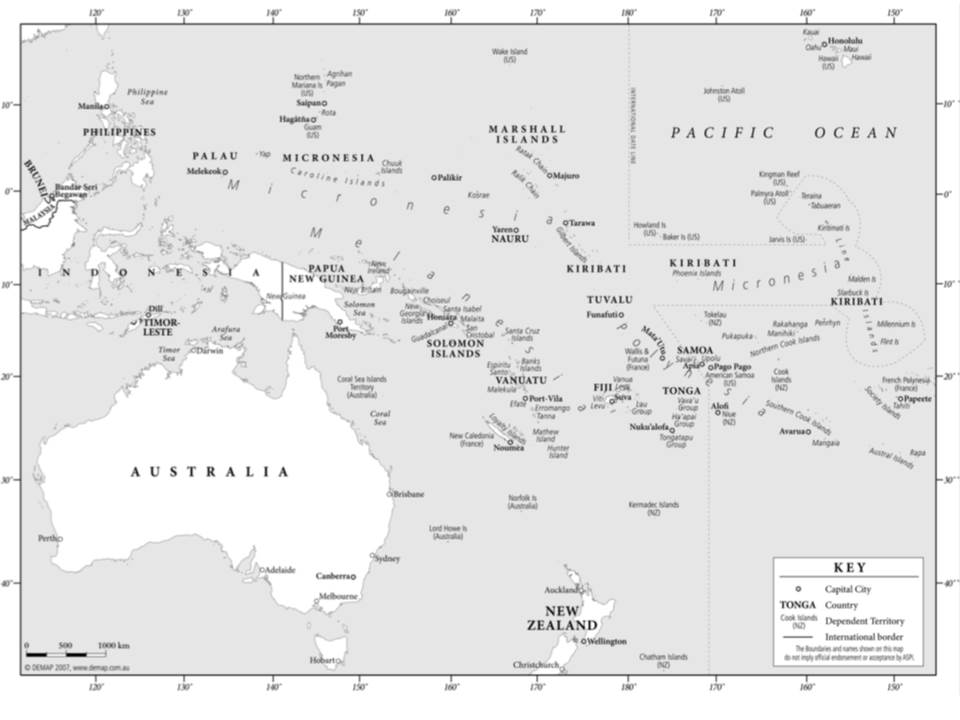 Australia and the South Pacific Islands region [3]