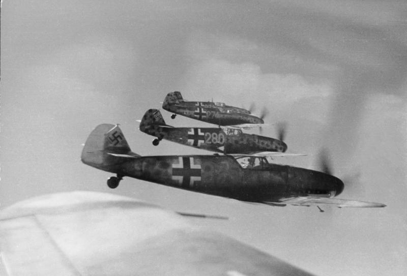 German Bf 109 fighters in flight, circa late 1944. (German Federal Archive/World War II Database)