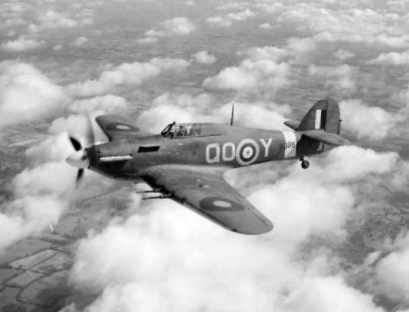 A Royal Air Force Hawker Hurricane Mk IIC (BD867 'QO-Y') of No 3 Squadron RAF based at Hunsdon, Hertfordshire (UK), in flight. (Wikimedia Commons)