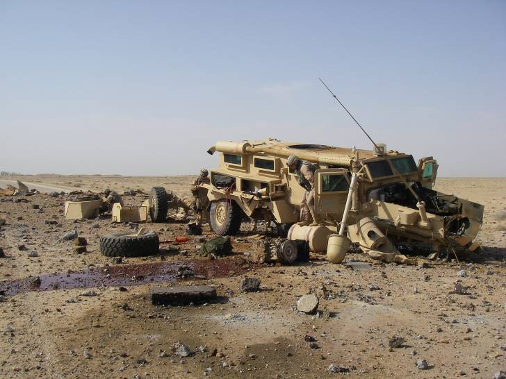 Cougar was hit in Al Anbar, Iraq by a directed charge IED approximately 300-500 lbs in size. All crew members survived the blast and went out the next day. (DoD Photo)