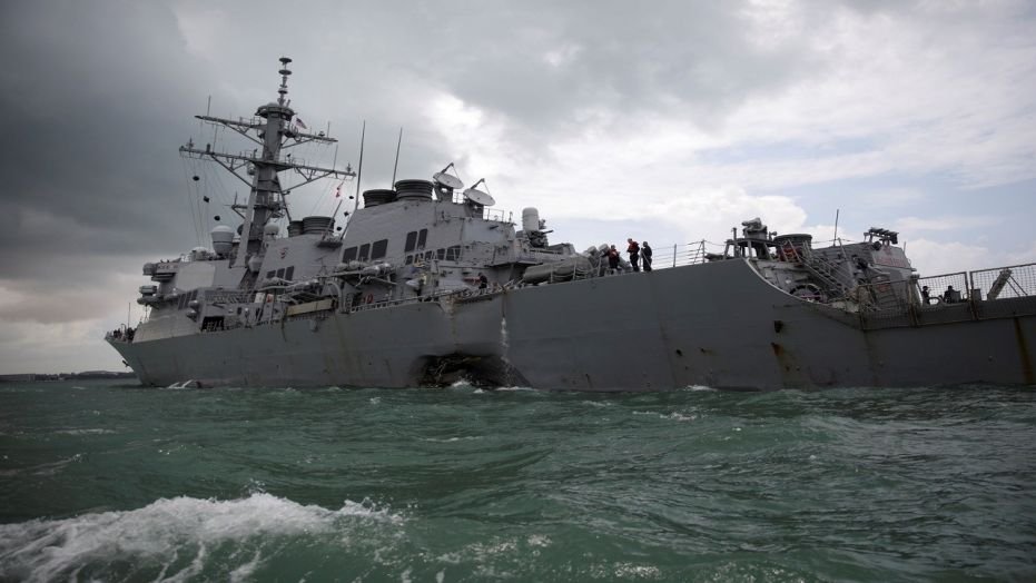 The USS John S. McCain after a collision, in Singapore waters, Aug. 21, 2017. (Reuters)