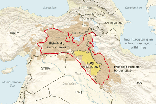 Areas historically occupied by ethnic Kurds. (Joe Burgess/The New York Times)