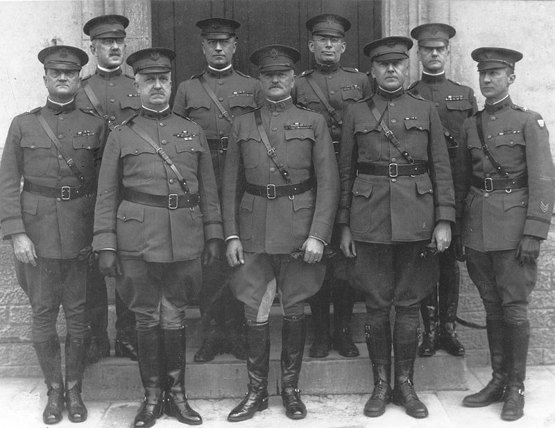 General Pershing and his General Staff at Headquarters in France. (U.S Army Photo/Wikimedia)