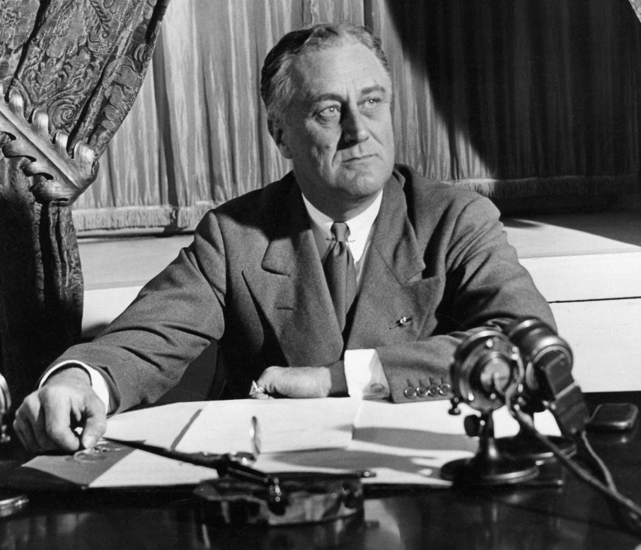 Franklin Roosevelt during one of hi fireside chats. (Wikimedia)