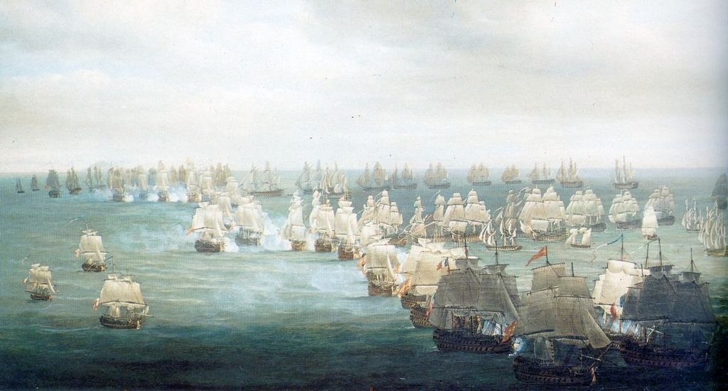 """Trafalgar Battle - 21st of October 1805 - Situation at 13h"" by Nicholas Pocock (Wikimedia)"