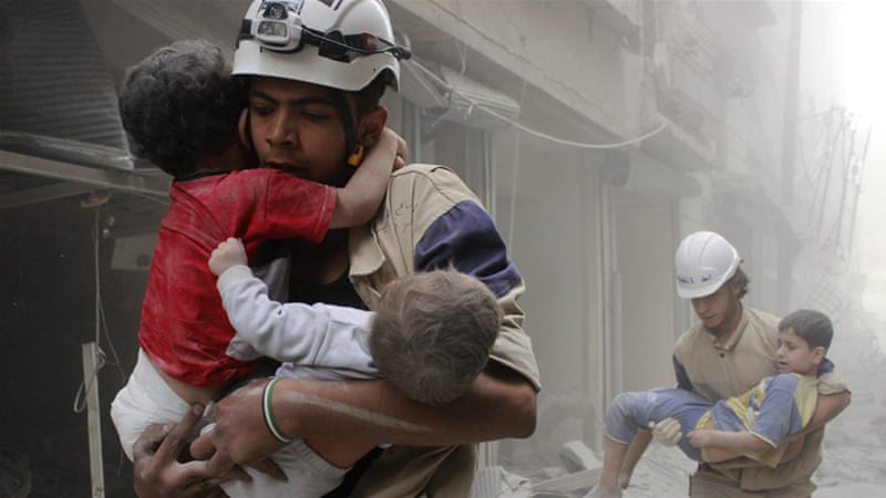 As areas were bombed individuals emerged, who, when a bomb fell down on a street would run and try to help their neighbours. These were the so-called White Helmets (Al Jazeera)
