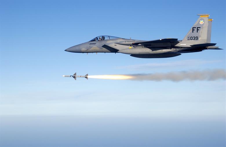 An F-15C EAGLE fires an AIM-7 SPARROW air-to-air missile (Master Sergeant Michael Ammons/USAF Photo)