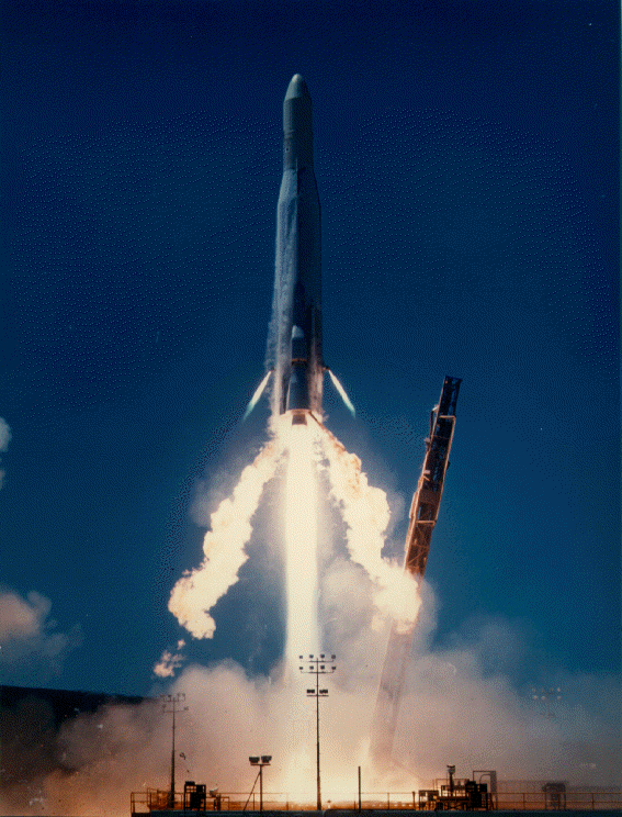 Atlas-E/-F with solid fuel upper stage (ICBM converted to satellite launcher) launching military payload ( U.S. Navy Photo  Wikimedia )