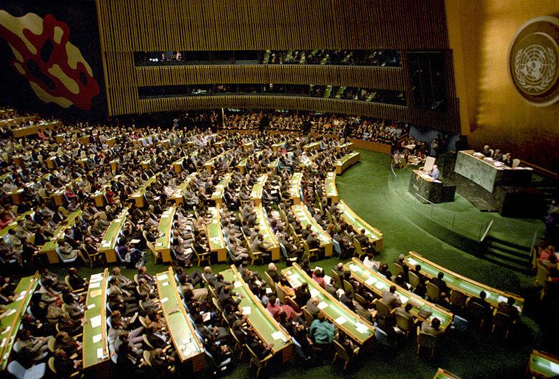 Mikhail Gorbachev, Soviet general secretary, addresses the UN General Assembly in December 1988. (Yuryi Abramochkin/RIA Novosti Archive/Wikimedia)