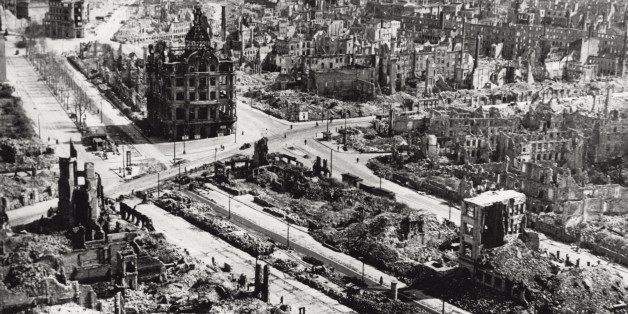 Aerial view of Dresden city centre, the area around Pirnaischer Platz, devastated by the Anglo-American bombing of the 13th and 14th of February 1945. (Mondadori Portfolio/Getty Images)
