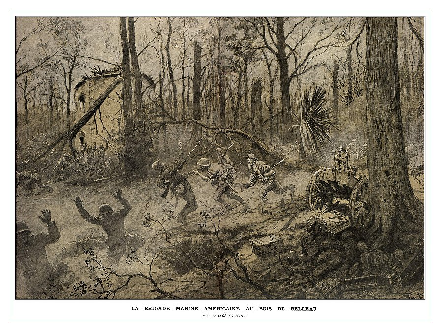 """Georges Scott (1873-1943) illustration """"American Marines in Belleau Wood (1918),"""" originally published in the French magazine Illustrations. (Wikimedia)"""